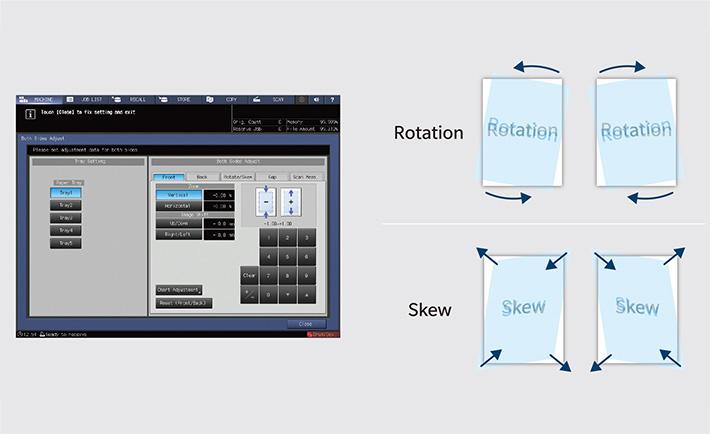 Skew and image rotation correction